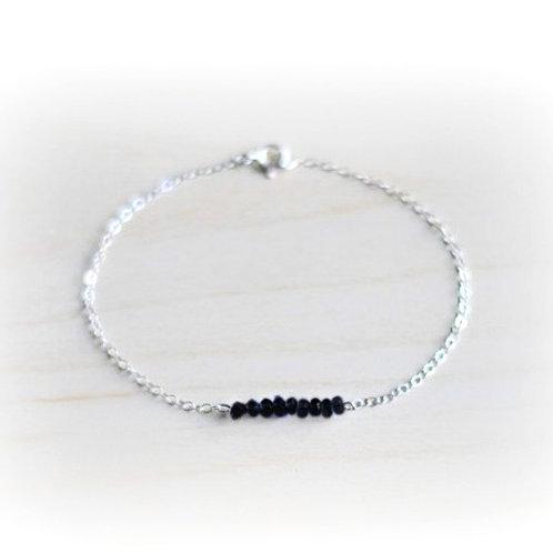 Black Tourmaline Silver Gemstone Bracelet