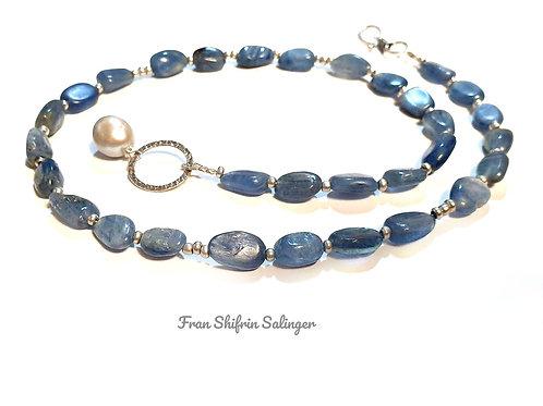 Kyanite Silver Statement Romantic Blue Gemstone Necklace