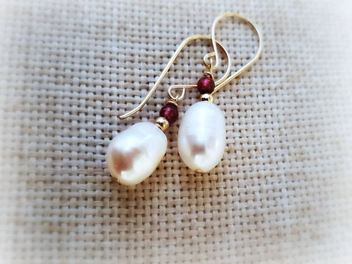 Natural Pearl Gold Garnet Earrings