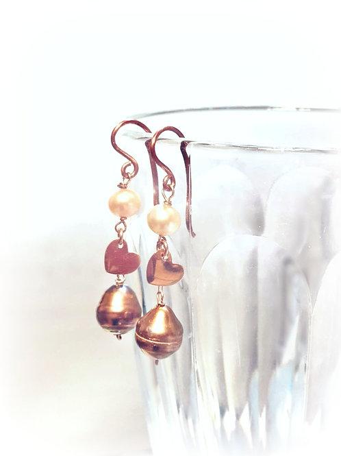 Rose Gold Natural Pearl Earrings