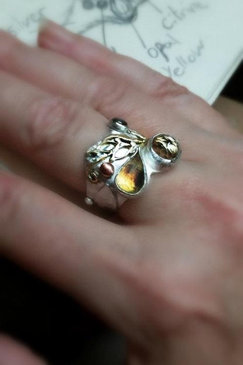Statement Silver gold opal Citrine sculptured Ring