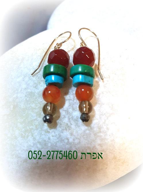 Aqua Terra Turquoise Carnelian Dangle Earrings