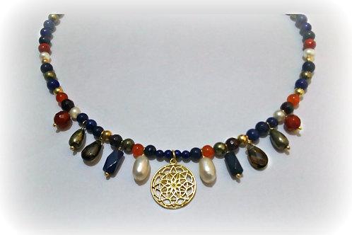 Lapis Lazuli Gemstone Ancient Egyptian Style Necklace.