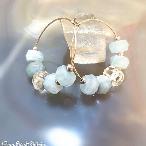 Aquamarine Sterling Silver Hoop Earrings