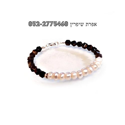 Black Obsidian Natural freshwater Pearl Elegant Black White Silver Bracelet