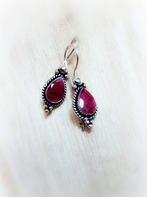 Natural Ruby Silver Earrings