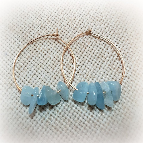 Aquamarine Gold filled Hoop Earrings