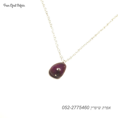 Silver Ruby July Birthstone Minimalist Necklace