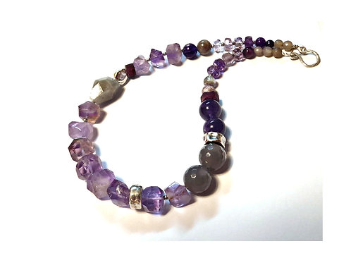 Purple Grey Chuncky Gemstone Silver Necklace
