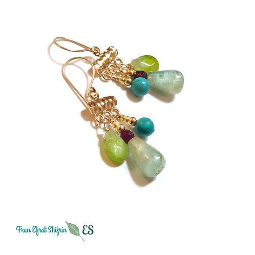 Aquqmarine Gold Gemstone Earrings chandelier Elegant Oceanic