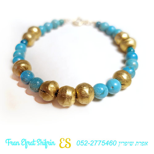 Natural Turquoise pyrite Emerald Bracelet