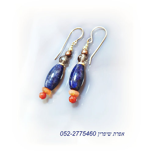Gold Lapis lazuli Carnilian Earrings, Ancient style