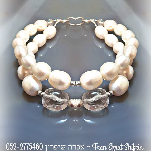 Natural White Freshwater Pearls Silver Double strand Bracelet