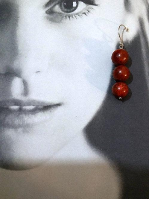 Silver Red Coral Gemstone Hi Fashion Casual-Elegant Earrings
