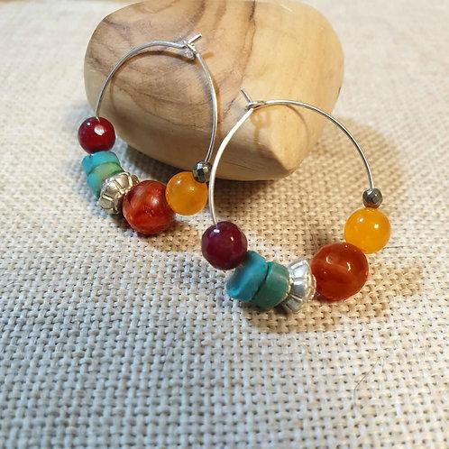 Silver Gemstone Colorful Hoop Boho Earrings