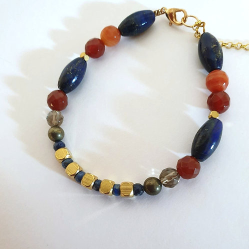 Lapis Lazuli Gold Bracelet Ancient Style
