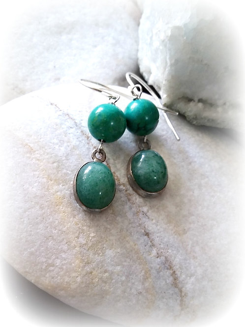 Natural Aventurine &Turquoise 925 Silver Drop Earrings