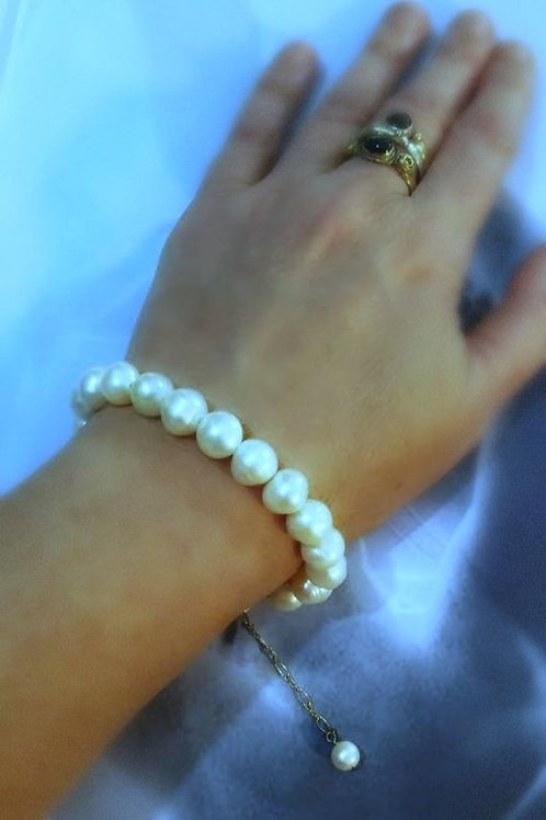 Large Natural Round Freshwater Pearls Bracelet