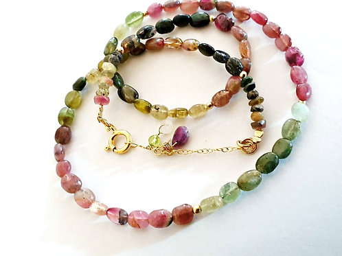 Watermelon Tourmaline Dainty Gemstone Necklace