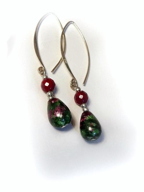 Silver Green Ruby Zoisite Earrings