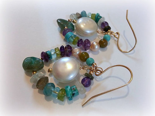 Turquoise Apatite Amethyst Natural Pearls Gold Earrings