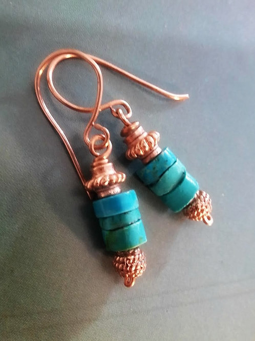 Genuine Turquoise Earrings copper and 14K rose goldfilled