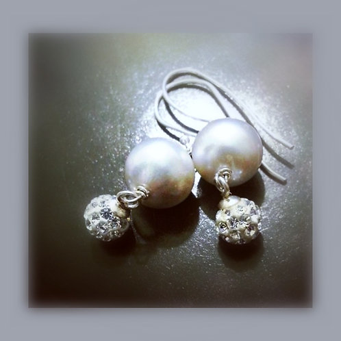 Natural Pearl Silver Earrings With Glittering Silver Crystal Balls