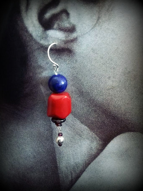 Silver Coral Lapis Lazuli Gemstone Ethnic Earring