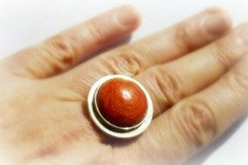 Silver Red Coral Statement Ring