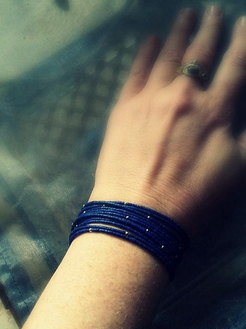 Lapis Lazuli Gold Multi Strand Bracelet