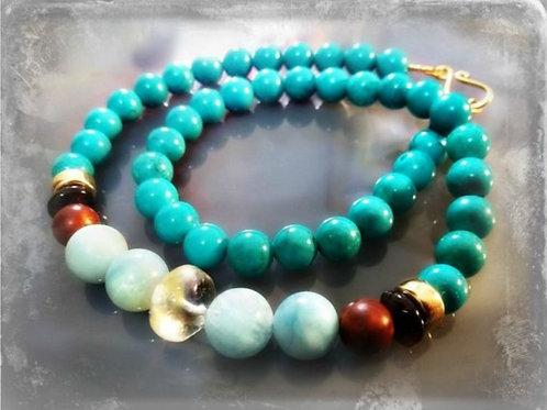 Turquoise Aquamarine Natural Statement Necklace