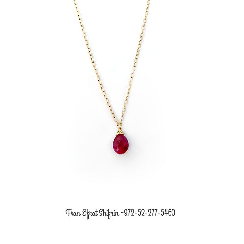 Genuine Ruby Necklace - Gold Ruby Necklace - Minimalist Necklace