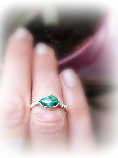 Turquoise Chrysocolla silver Ring
