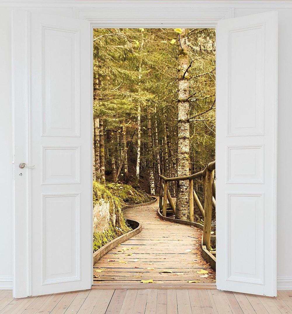 Door opening onto a new world