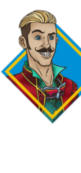 Dangerous Don Duffield. Human bard with googles, a hooked mustache and a big smile.