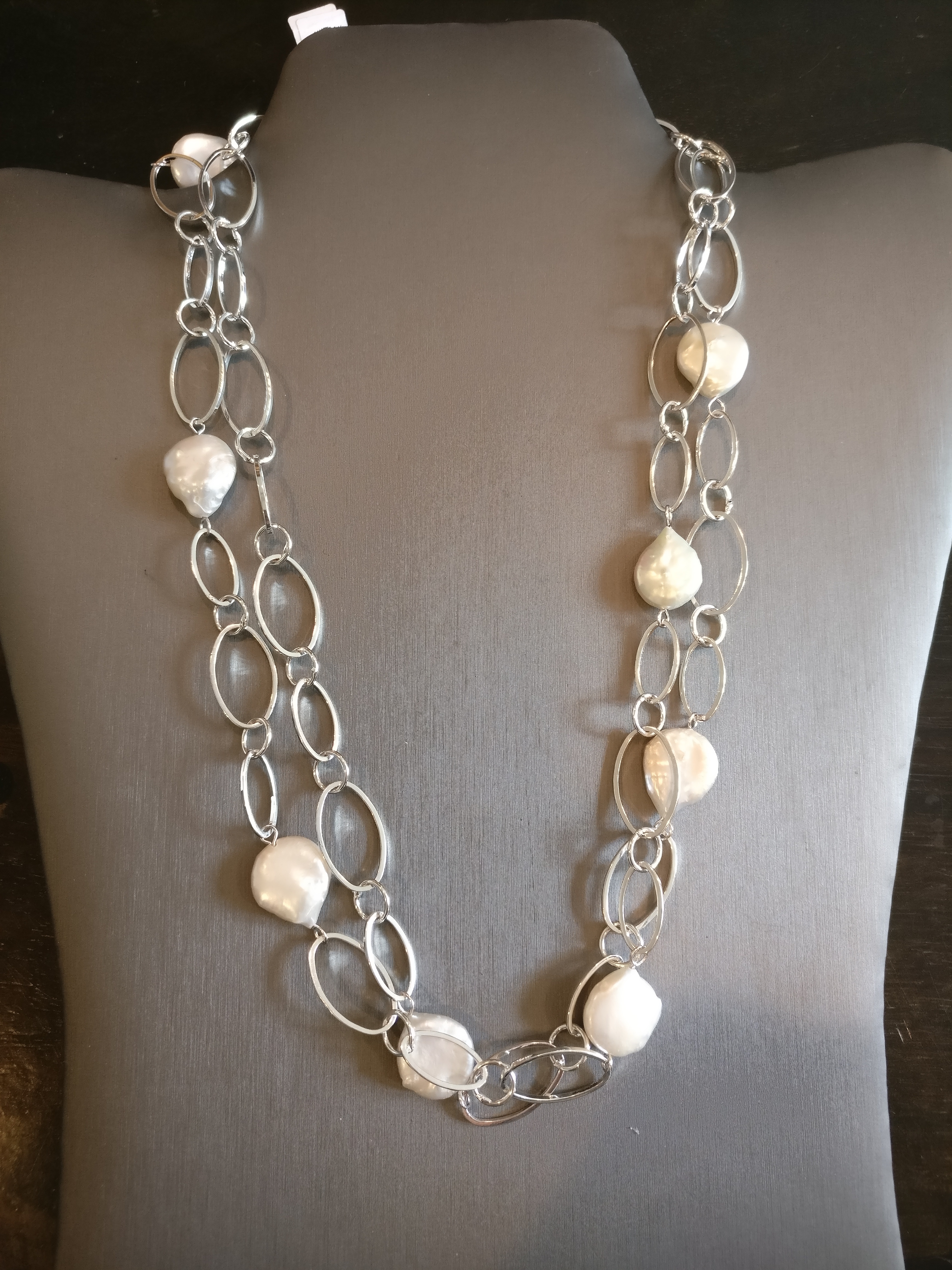 White Coin Freshwater Pearl Necklace