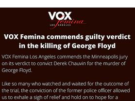 VOX Femina commends verdict in the killing of George Floyd
