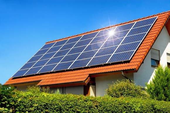 Roof mounted solar modules