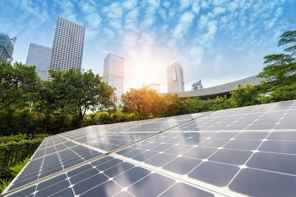 Ground mounted solar modules in a metropolitan area