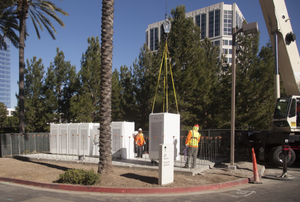 Tesla Inc. batteries, installed at office buildings in Los Angeles, are part of a virtual power plant providing electricity to the grid.