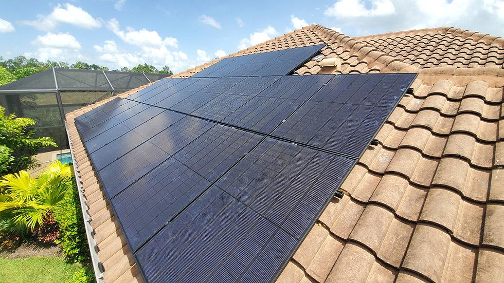 REC Alpha series solar panel installation