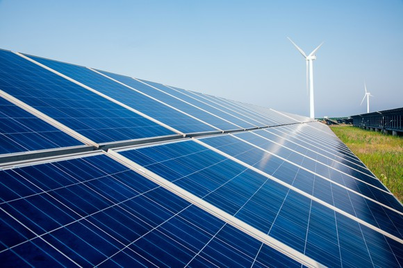 ground mounted solar modules with wind turbines