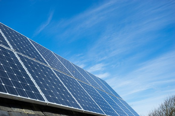 solar modules with blue sky