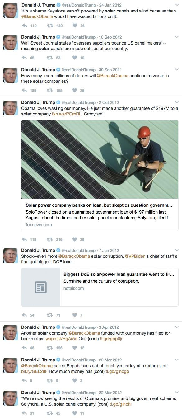 Screenshots of Donald Trump's tweets about solar energy.