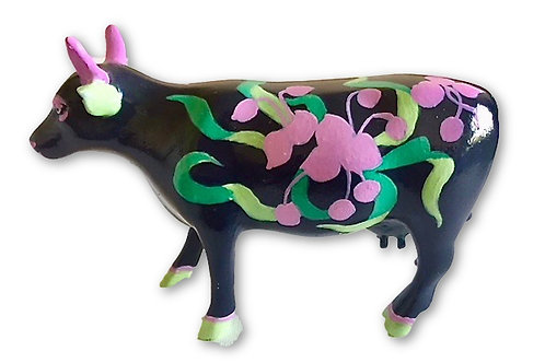 Pink flowers on black mini cow - PP-R2234