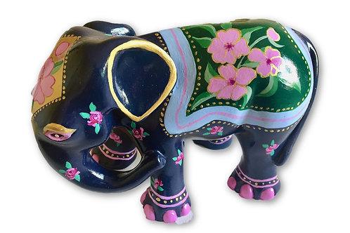 Pink flowers on blue/black elephant - PP-R3348