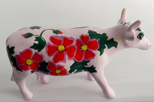 Red flowers on white mini cow - PP-R2226