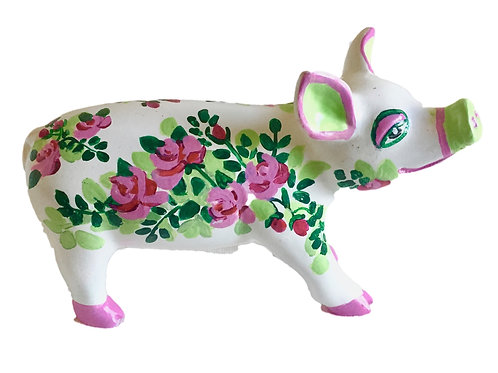Roses on white mini pig - PP-R1424