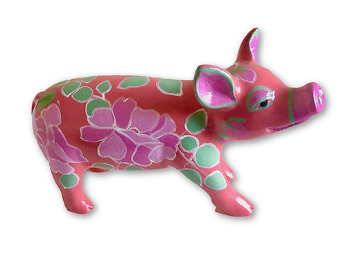 Red flowers on red mini pig - PP-R1412