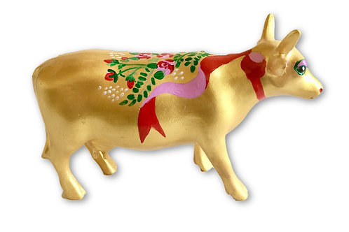 Ribbon on gold mini cow - PP-R2232